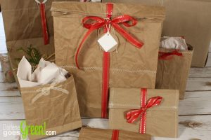 Upcycled Packing Paper Sewn Gift Bags