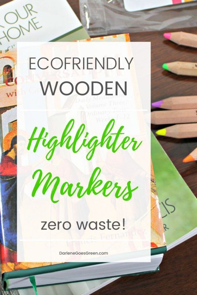 Looking for zero waste highlighters and markers? I found these amazing wooden highlighters and they work great! Read more at DarleneGoesGreen.com #DarleneGoesGreen #green #ecofriendly #sustainable #stubbypencil #ECOhighlighters #ZeroWaste