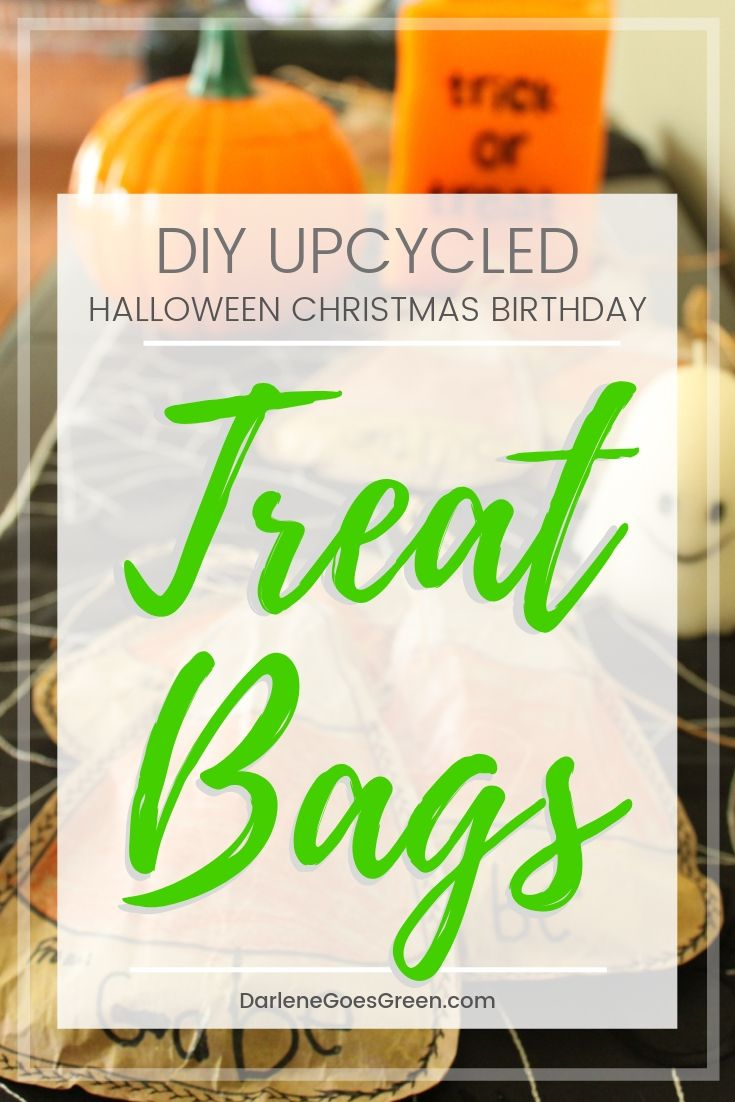 DIY Upcycled Treat Bags for Halloween, Christmas, Birthdays and More. Details here https://darlenegoesgreen.com/diy-upcycled-party-treat-bags-from-paper-packaging/